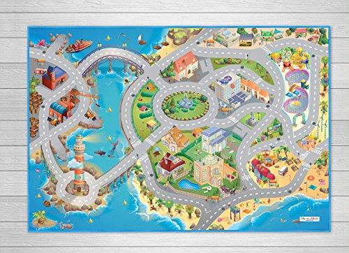 House of Kids–94074–Spiel-Teppich, Umkehrbar–Motiv: Straßen am Meer - 3