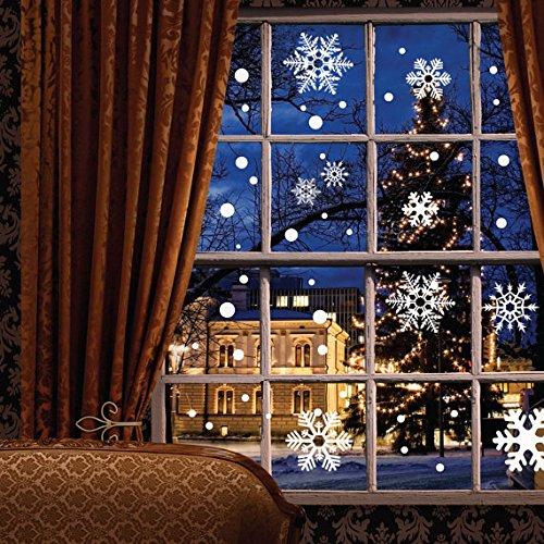 Moon Boat 121Pcs Fenster klammert Sich an Wand Aufkleber Aufkleber-Weiß Schneeflocken/Kugeln/Glocken-Weihnachten Neues Jahr Dekorationen Xmas Ornaments