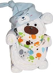 Windelgeschenk/Windeltorte/Windelbär mit Beanie + Dreieckstuch Junge Baby -> Windelgeschenk Junge -> tolles WINDELGESCHENK zu