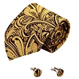A2106 Gold Patterned Brown Bridesmaids Presents Idea One Size Great Fabric Silk Ties Cufflinks Set 2PT By Y&G