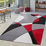 Moderna alfombra para salón con diseño abstracto en negro, gris y rojo, Negro , 120 x 170 cm