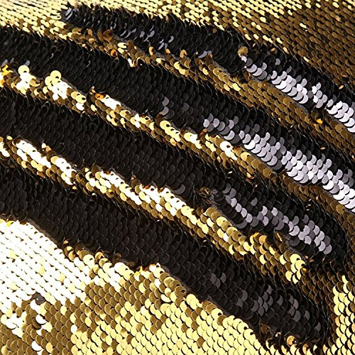 Get TRLYC Gold and Black 10ftx20ft Mermaid Wedding Sequin Backdrop Reversible Sparkly Curtains