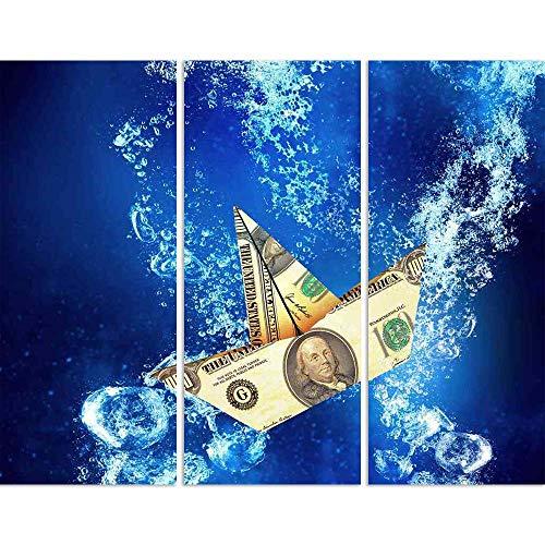ArtzFolio Dollar Banknote Ship Sinking In Clear Blue Water Split Art Painting Panel On Sunboard 30 X 24Inch