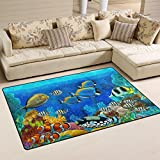 coosun Unterwasserwelt Fische Tiere, Teppich Teppich rutschfeste Fußmatte Fußmatten für Wohnzimmer Schlafzimmer 78,7x 50,8cm, Textil, multi, 31 x 20 inch