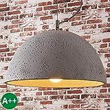 Lampenwelt Beton Pendelleuchte 'Jelin' dimmbar (Modern) in Alu aus Beton, u.a. für Wohnzimmer & Esszimmer (1 flammig, E27, A++) | Pendelleuchte, Hängelampe, Lampe, Deckenleuchte, Deckenlampe