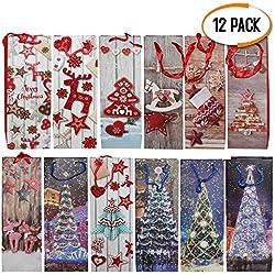 Lot de 12 Poches à Vin à Thème de Noël - 12 Motifs Assortis - Parfait pour les Cadeaux de Noel Œnologiques et Sac Cadeau bouteille