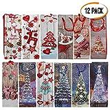 The Twiddlers Packung mit 12 geschenktüten Weihnachten Weinflaschen - 12 Verschiedene Designs - Perfekt für flaschentüten geschenktüten, weihnachtstüten für Flaschen