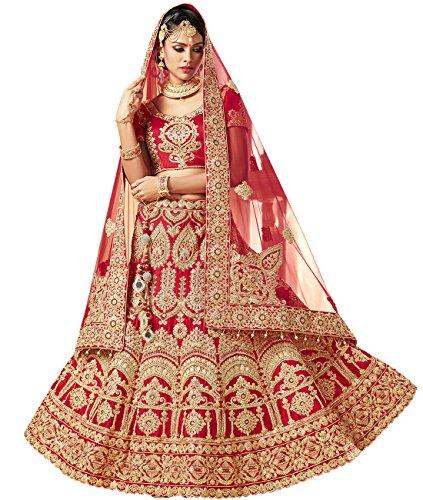 Indian Ethnicwear Bollywood Pakistani Wedding Red A-Line Coloured Lehenga Semi-stitched-PRF5433
