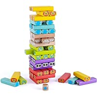 Elite Jenga Wooden Blocks 54 Pcs Challenging Color Wooden Tumbling Tower, Wooden Zenga Toys with Dices Board Educational…