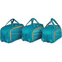 "Priority ARC Set of 3 Aqua Blue Polyester 2 Wheel Duffle Bag | Travel Luggage (20"",22"",24"" Inches)"