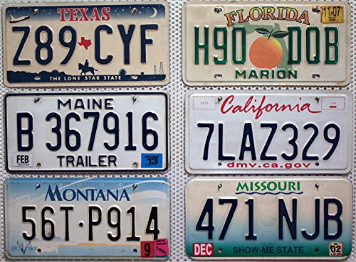 6 Kennzeichen SET / LOT # US Nummernschilder FLORIDA + MISSOURI + MAINE + TEXAS + KALIFORNIEN + MONTANA Blechschilder # USA Auto - Schilder