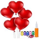 Meersee Palloncini a Forma di Cuore 100 Lattice Palloncini e Pompa e Ribbon Palloncini Cuore Rosso Grande per Matrimoni, Anni