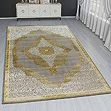 Paco Home Orient Teppich Modern 3D Effekt Ornamente Meliert Grau Gold Creme Schimmernd, Grösse:120x170 cm