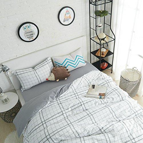 Preisvergleich Produktbild Damjic Baumwolle Baumwolle Verdickung Vier Sätze Der Warme Herbst Streifen Ländlichen Europäischen Stil Bettwäsche T König
