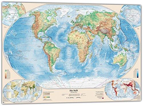Mapa del mundo físico con 4 además de los mapas, Poster: 119 x 84 cm