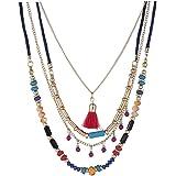 Colorido Collar De Perlas De Cristal De Las Mujeres De Boho Collar De Múltiples Capas De La Borla Colgante Gargantilla Collar