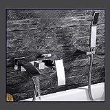Retro Deluxe Faucetinging an der Wand montierte Badezimmer Badewanne Dusche Mischbatterie Wasserhahn Set chrom mit Duschschlauch Kupfer Wandhalter, kompletter Satz