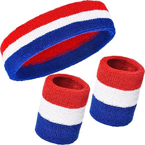 3 Stück Schweißbänder Set, inkl. Sport Stirnband und Handgelenk Schweißbänder Baumwolle Gestreiften Schweißband für Athletische Männer und Damen (Rot, Weiß und Blau)