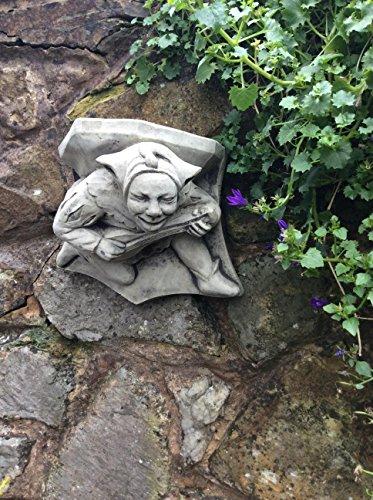 Stein Garten grinsende Court Jester Wandregal Wandleuchte