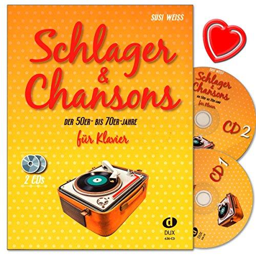 Schlager and Chansons der 50er- bis 70er- Jahre - umfassende Zusammenstellung von 40 Evergreens und Schlagern mit 2 CDs und bunter herzförmiger Notenklammer