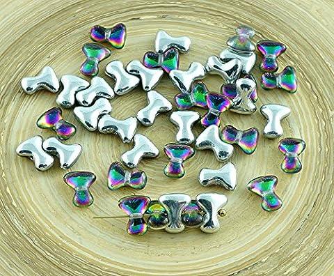 NEW SHAPE 40pcs TEE Beads Crystal Silver Dichroic Vitrail Green Czech Glass Beads PRECIOSA One Hole Spacer Bow Bone 2mm x