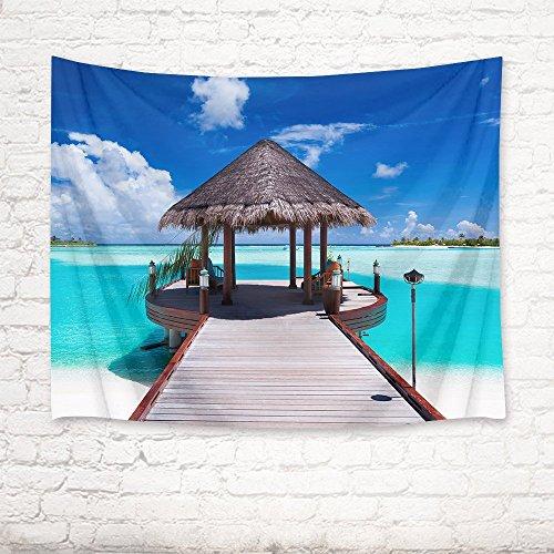 S&Y Pavillon Holz- Promenade Ocean teal Wand Teppich hanging tapestry Picknick Strand Blatt Tischdecke home Zubehör 200 Breite x 150 Höhe cm