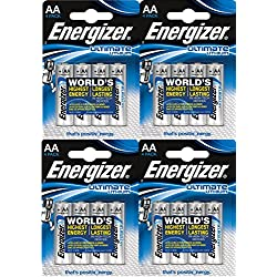 "ENERGIZER 7638900262643 mignon Batterie ""Ultimate Lithium L91 AA 3000 mAh LR6 1,5 V clair - Lot de 4 x 4"