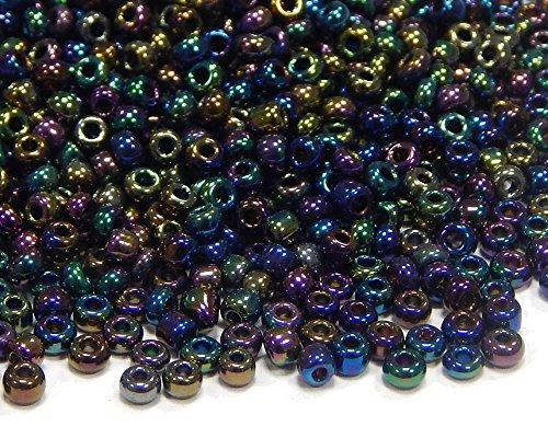 450g Rocailles 2mm Glasperlen Iris Metallic Grün AB30000stk Häkeln Rund 11/0 Indianerperlen A7 (Metallic-perle Halskette)