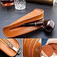 Portátil piel única funda de pipa de tabaco para fumar bolsa de soporte de tubo, hombre, marrón, 185mm(H) x 80mm(W) x 50mm(H)