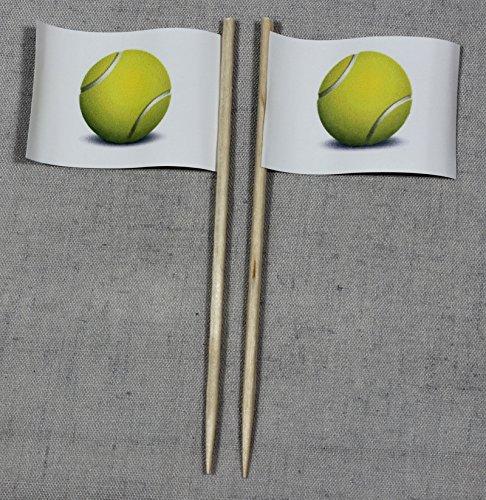 Buddel-Bini Party-Picker Flagge Tennisball Tennis Papierfähnchen in Spitzenqualität 50 Stück Beutel