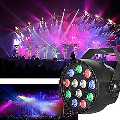 YUEYANG LED RGB PAR Light 12 LEDs DMX512 Color Mixing Wash Can Stage Light, Disco DJ Wedding Party Show Live Concert Lighting