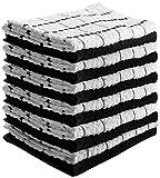 Utopia Towels Kitchen Towels (12 Pack, 38 x 64 Centimeters) Pure Cotton Machine Washable 6 Black and 6 White Dobby Kitchen Dish Cloths, Tea Towels, Bar Towels