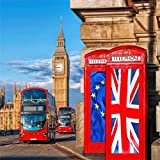 AOFOTO 5x5ft London Streetscape Backdrop Red Telephone Booth Photography Background Big Ben Double-decker Bus Adult Artistic Portrait Travel Wedding Photoshoot Studio Props Video Drop Wallpaper Drape