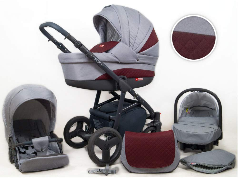 Travel System Stroller Pram Pushchair 2in1 3in1 Set Isofix Marley by SaintBaby Plum 2in1 Without Baby seat SaintBaby 3in1 or 2in1 Selectable. At 3in1 you will also receive the car seat (baby seat). Of course you get the baby tub (classic pram) as well as the buggy attachment (sports seat) no matter if 2in1 or 3in1. The car naturally complies with the EU safety standard EN1888. During production and before shipment, each wagon is carefully inspected so that you can be sure you have one of the best wagons. Saintbaby stands for all-in-one carefree packages, so you will also receive a diaper bag in the same colour as the car as well as rain and insect protection free of charge. With all the colours of this pram you will find the pram of your dreams. 1