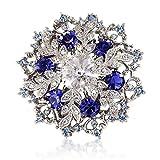 Kristall Swarovski Elements Blau Saphir Weinlese Brosche 14K Weiß Gold Silberfarbig Schneeflocke Brosche