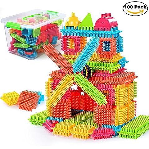 NEEDOON Bristle Blocks Building Set Educational Stacking Jouets de bain pour enfants en bas âge Enfants – 100pcs avec la créativité au-delà de l