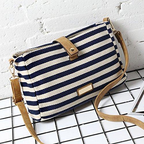 Handtasche Mode Einfachen Gestreiften Leinwand Schulter Messenger Tasche Retro Lässig Kleine Quadratische Weiche Tasche , blau (Lassig Messenger Wickeltasche)