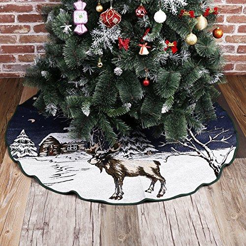 Galleria fotografica 50 Inch Burlap Gonna per Albero Di Natale 127cm di Diametro Natale Anno Nuovo Decorazione-Bianco Fiocchi di Neve Elk per Xmas Partito Vacanza Decorazioni