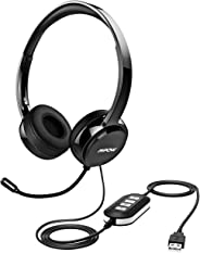 Mpow 071 USB Headset/ 3.5mm Computer Headset with Microphone Noise Cancelling, Lightweight PC Headset Wired Headphones, Busin
