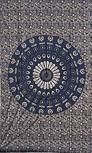 Cotton Hippy Indian Mandala Wall Hanging Bohemian Throw Decor Bedspread Tapestries (Black Vintage)
