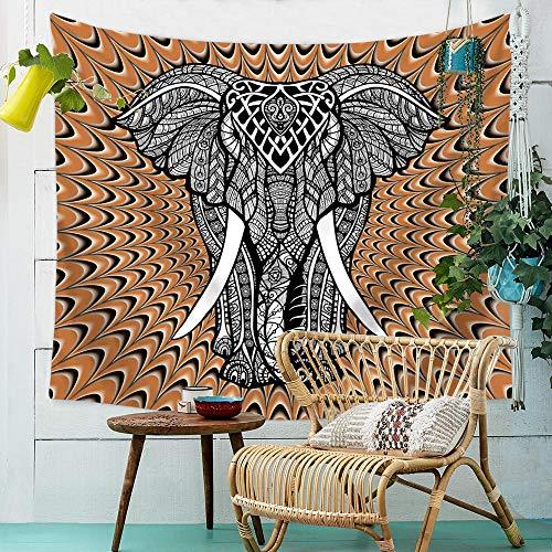 mubgo Tapiz Tapiz Elefante De Brocado Montado En La Pared Tapiz Bohemio Tapiz De Playa Hippie Decorativo para Dormitorio Indio Arte De Pared Manta De Playa 150x200cm