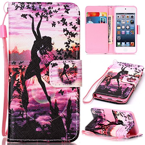 Price comparison product image For Apple iPod Touch 5 / 6 Leather Flip Case Cover, Ecoway Colorful Painted PU Leather Stand Function Protective Cases Covers with Card Slot Holder Wallet Book Design, Soft TPU Silicone Inner Bumper Full Protection Detachable Hand Strap for Apple iPod Touch 5 / 6 - Butterfly girl