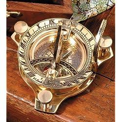Reloj solar antiguo con brújula, cronómetro de latón, en caja de madera, con instrucciones, aguja de brújula regulable