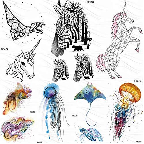 yyyDL DIY Zebra Wald Geometrische Einhorn Temporäre Tattoos Aufkleber Männer Wasserdicht Fake Tattoo Body Art Arm Tatoos Für Kind Frauen 10 * 6 cm 7 stücke