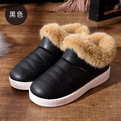 DogHaccd pantofole,Pelle pu Impermeabili di cotone invernale pantofole pacchetto con le coppie home soggiorno anti-slittamento spesso caldo inverno pantofole uomini e donne Nero4