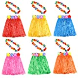 KUUQA 6 Set 12 PCS Hawaiian Erba Hula Gonna con Flower Leis Collana Hawaii Luau Gonne Collana Costume Fancy Dress per bambini Ragazze Donne Luau Birthday Party Favore Borse Forniture (Colore casuale)
