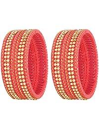 NMII 9 Color Fashionable Silk Thread Glass Bangle Set Studded With Button Zircon For Women & Girls On Wedding...