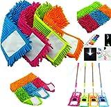 Teste mocio in microfibra pavimento noodle refill ricambio scopa per polvere panno pulizia lavabile Pad & Free LED torcia Pink immagine