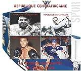 Collezionismo Sport - 4 francobolli su foglietto che caratterizzano la star del baseball Babe Ruth, leggenda del golf Bobby Brown, immortale boxe Muhammad Ali e hockey su ghiaccio luminare Wayne Gretzky / 2011 / Africa Centrale - Stampbank - amazon.it