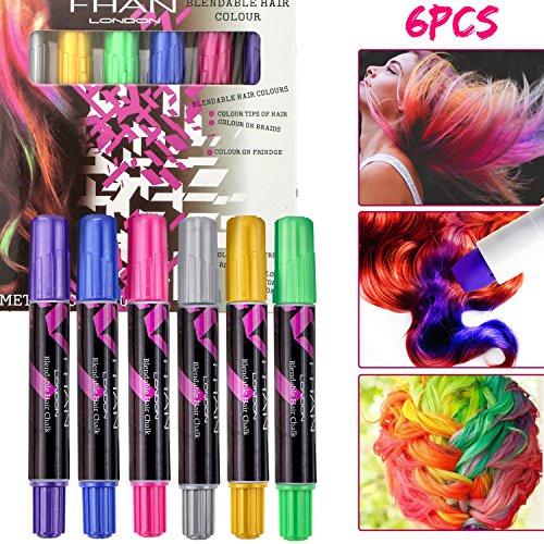 Hair Chalk Set, Buluri 6 colores cabello Tiza No tóxico Temporal cabello tinte para niños de 4 a 5 años 6 Plus Girls Boys, perfecto para el carnaval, Halloween, Navidad, fiestas de cumpleaños(6 PCS)